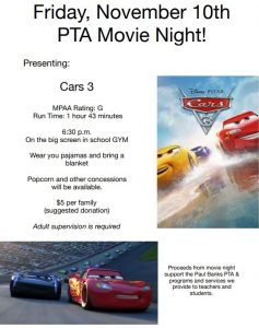 PTA movie night 11-10-17 cars3